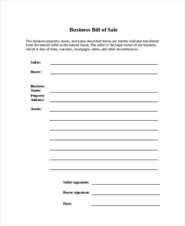 business bill of sale form free