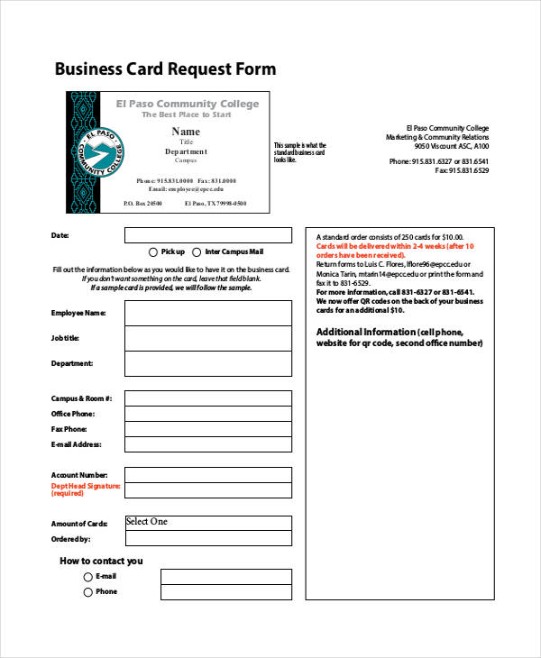 business card request form1