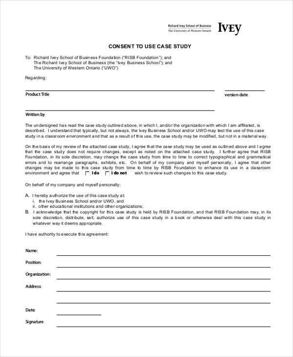 business case study consent form
