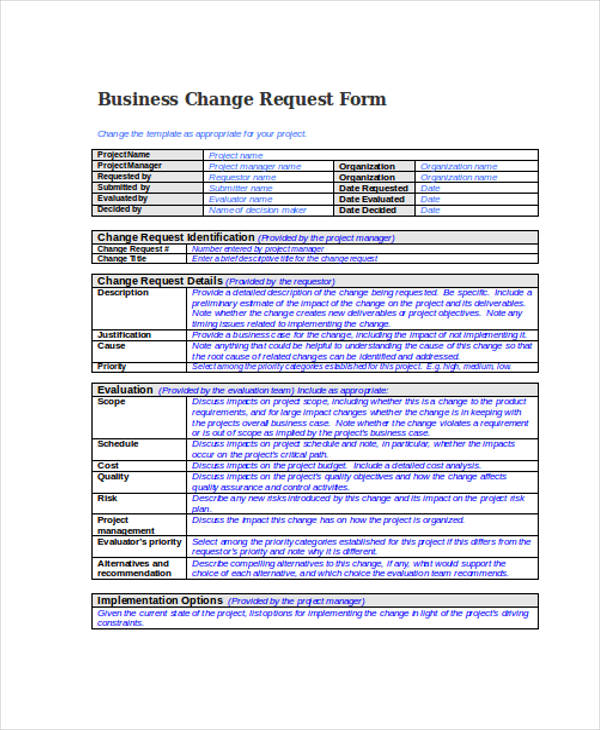 business change request form