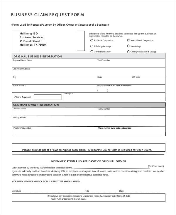 business claim request form