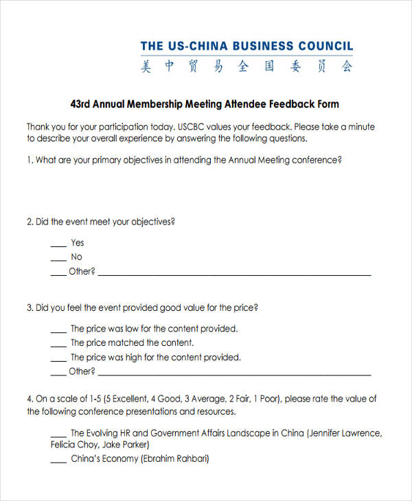 12 Business Feedback Form Templates – Meeting Feedback Form Template