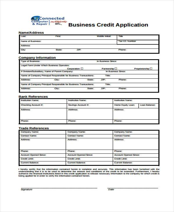 business credit application form1