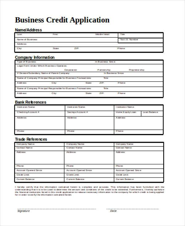 Business-Credit-Application-Form3 Job Application Form Format Doc on