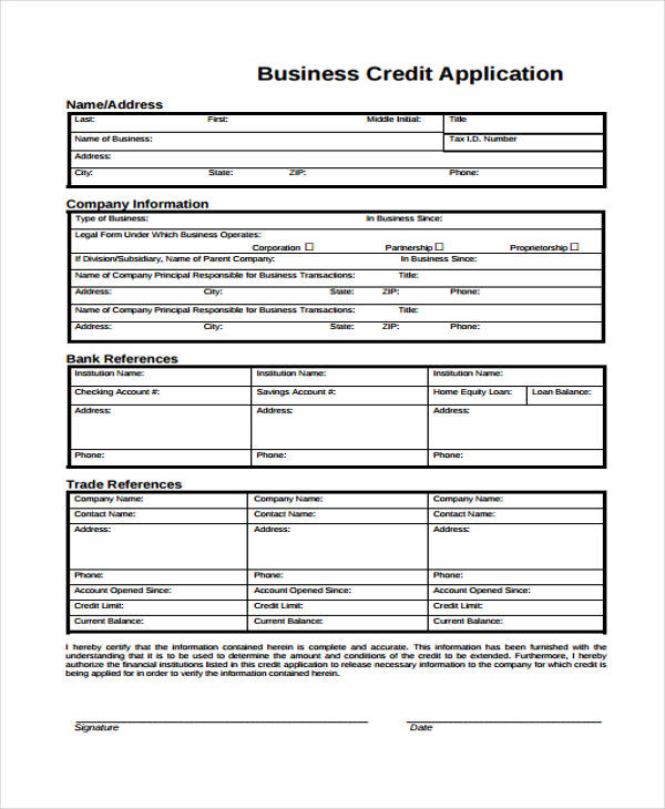 business credit application form7