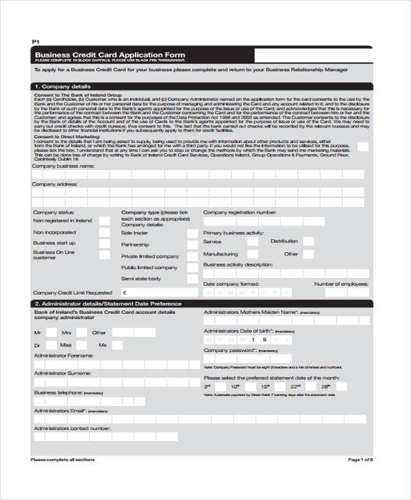 business credit card application form1