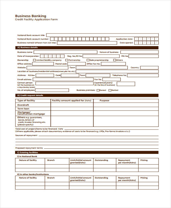 business credit facilities application form