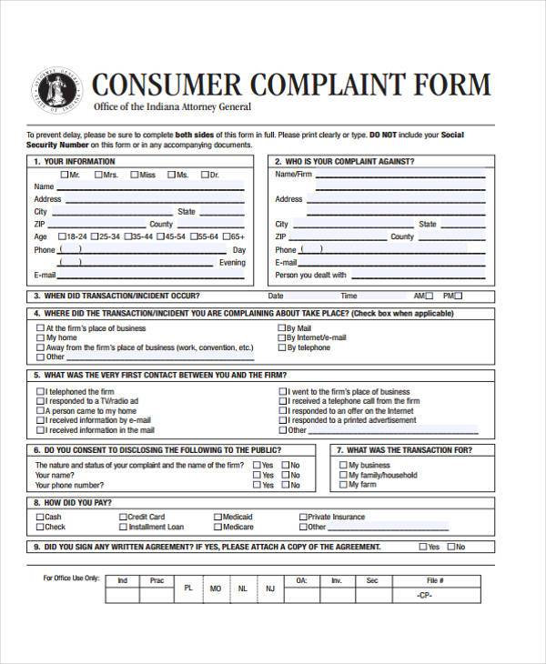 Consumer Complaint Form Consumer Complaint Form  State Of