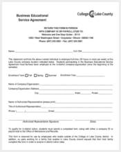 business educational service agreement