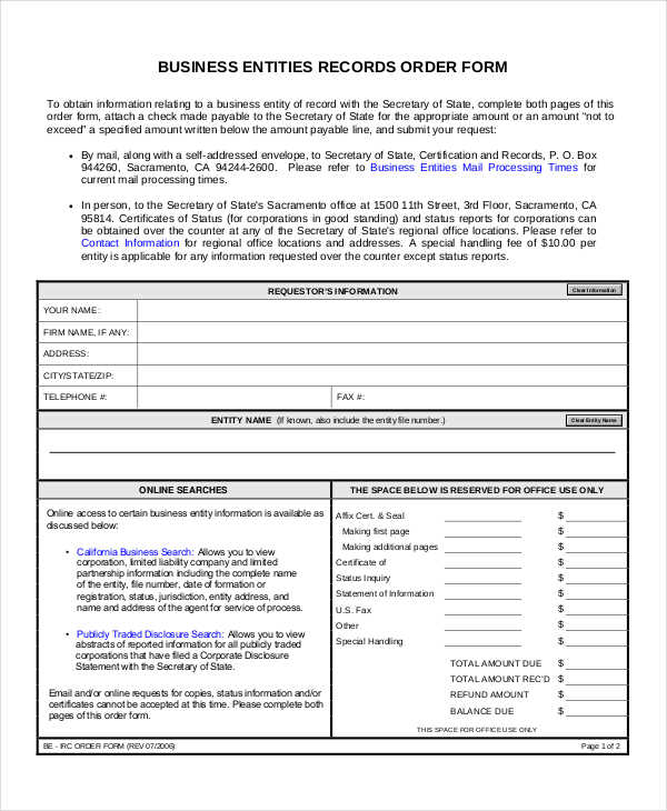 business entities order form1