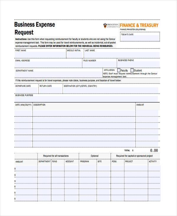 business expense request form