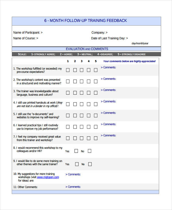 business fallow up training form