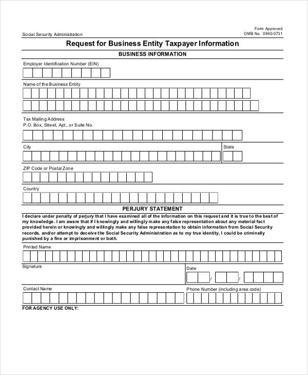 business information request form