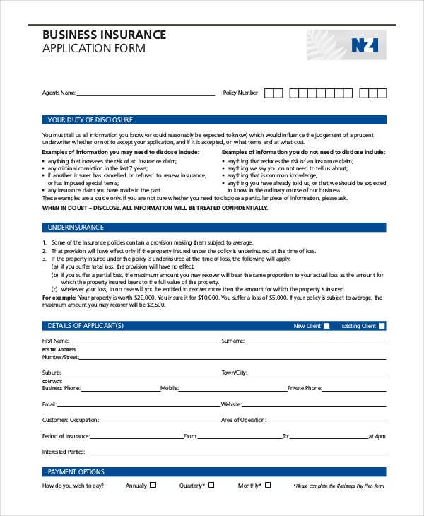 business insurance application form1