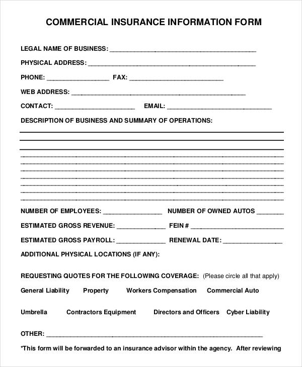 business insurance information form