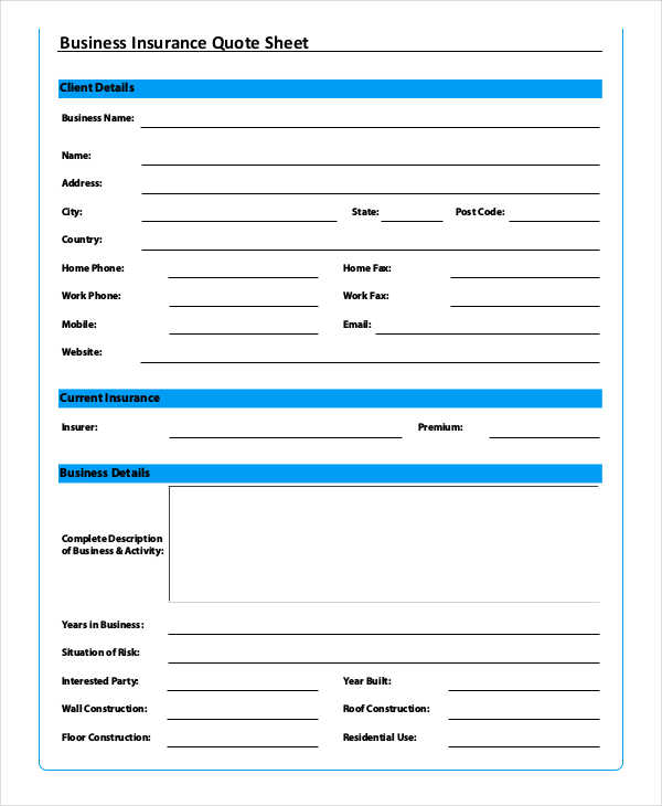business insurance quote sheet form