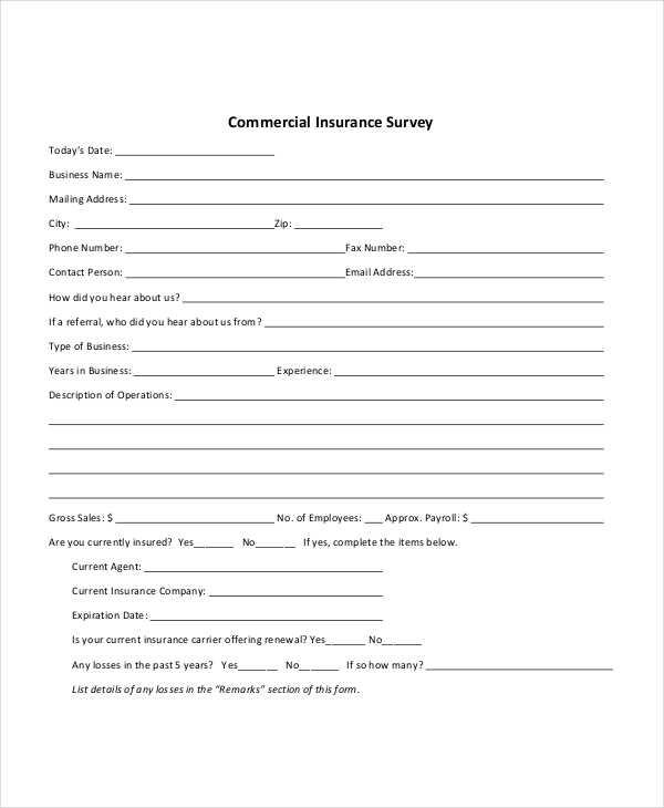 business insurance survey form1
