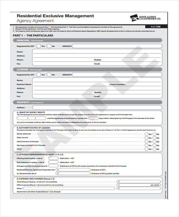 Business Agency Agreement Template. Agent As Purchaser Listing ...