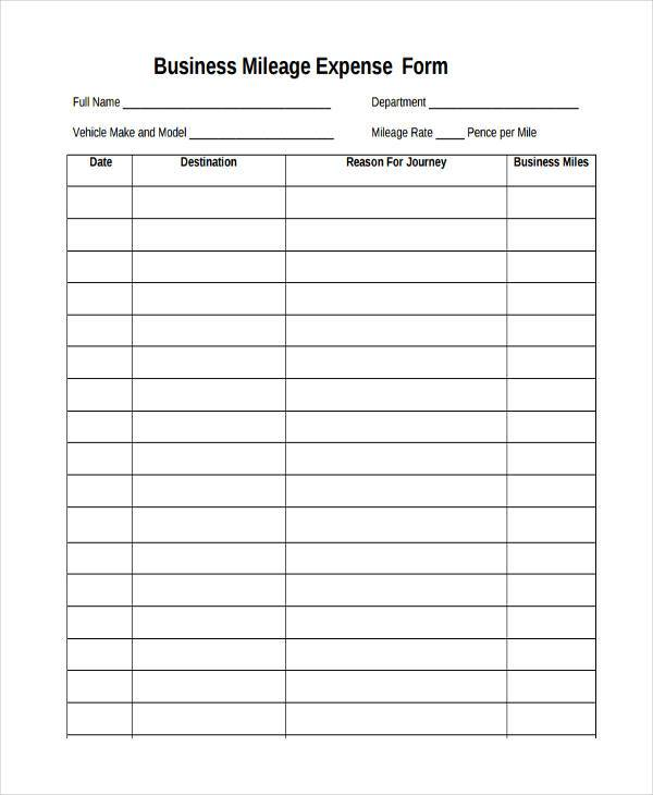 Mileage Expense Form - Template