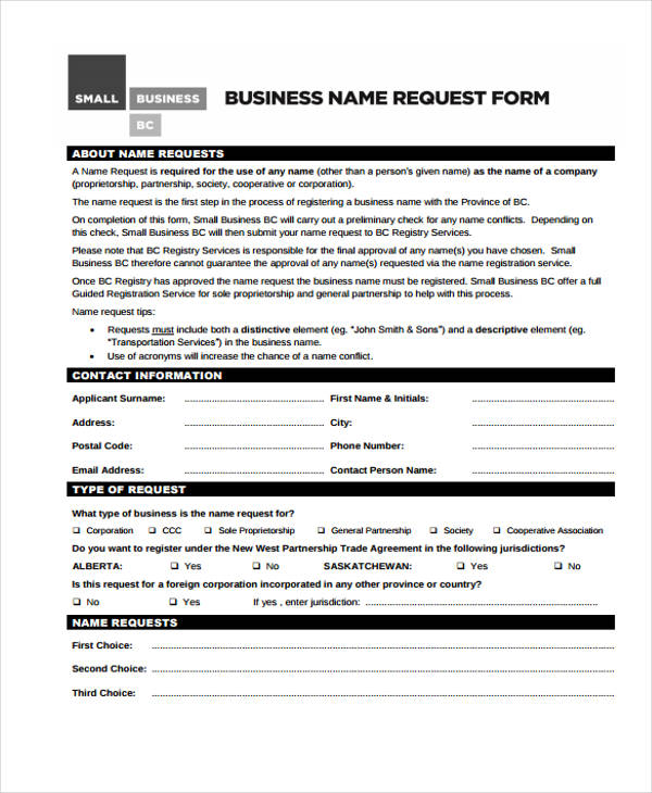 business name request form