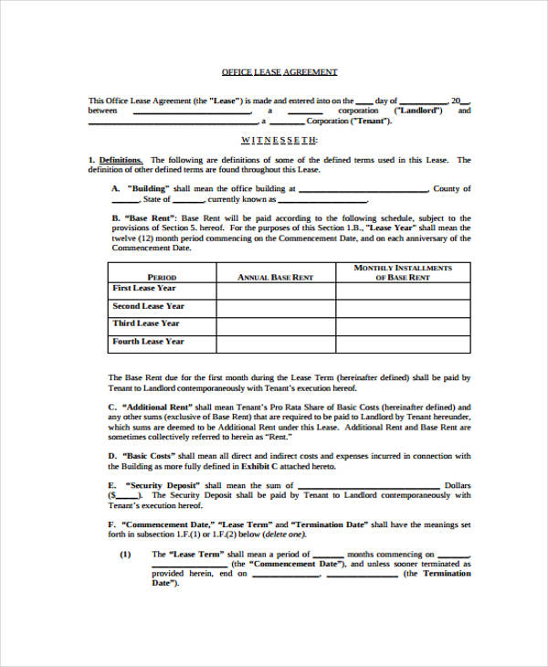 40 Sample Lease Agreement Forms – Sample Office Lease Agreement