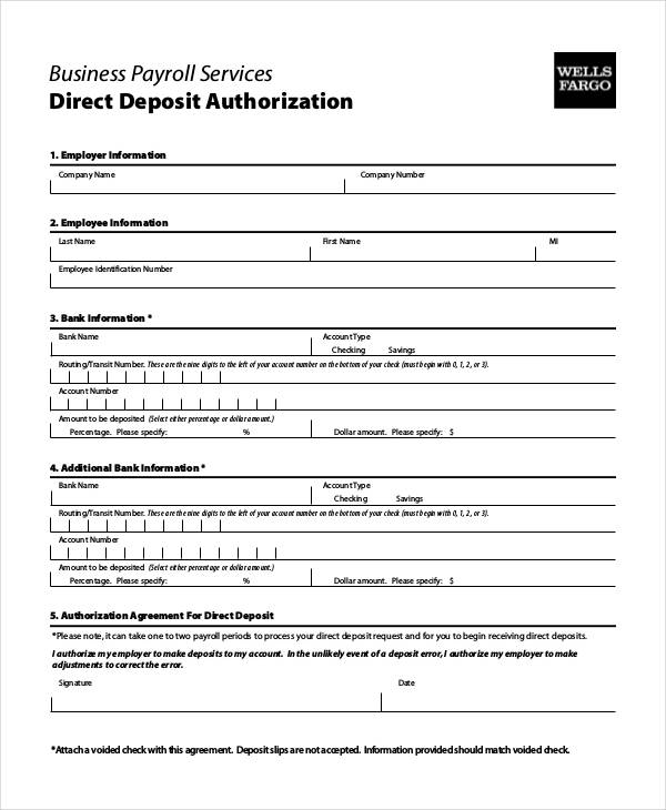 authorization form for direct deposit