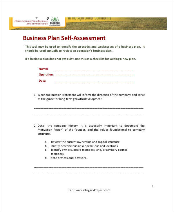 business plan self assessment form