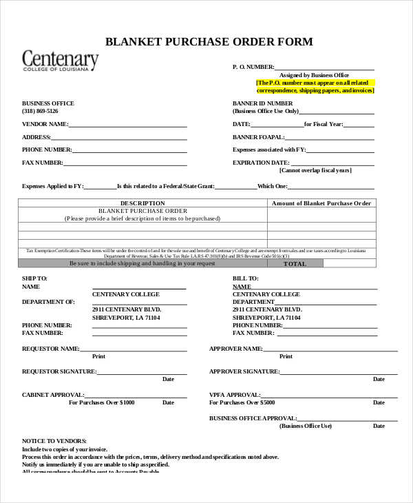 Business Purchase Order Form  Purchase Order Form Example