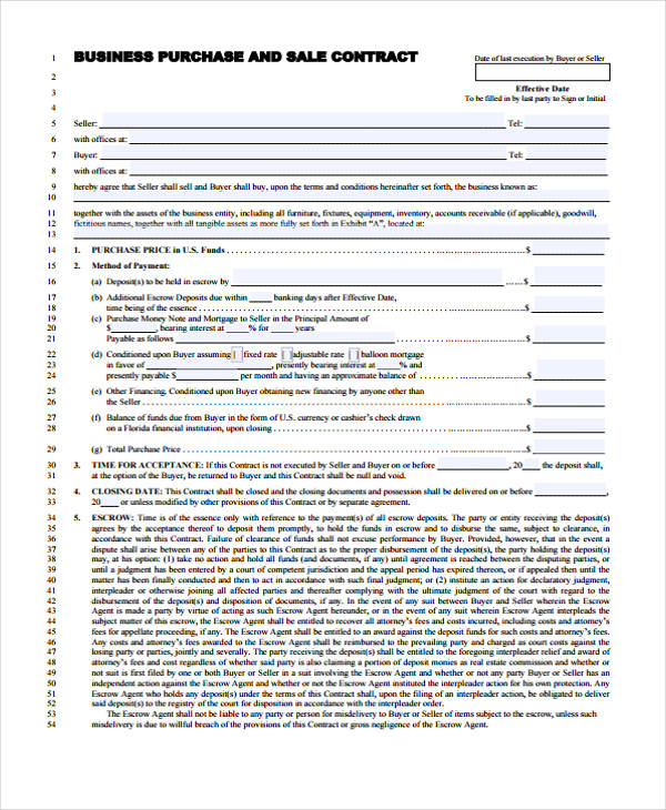 Sample Purchase Agreement Forms