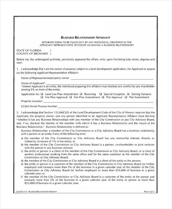 business relationship affidavit form