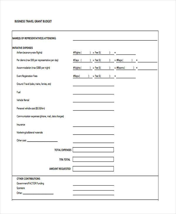 business travel grant budget form