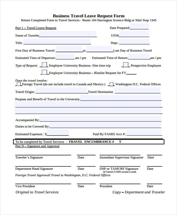 Business Travel Leave Request Form  Leave Request Form Template