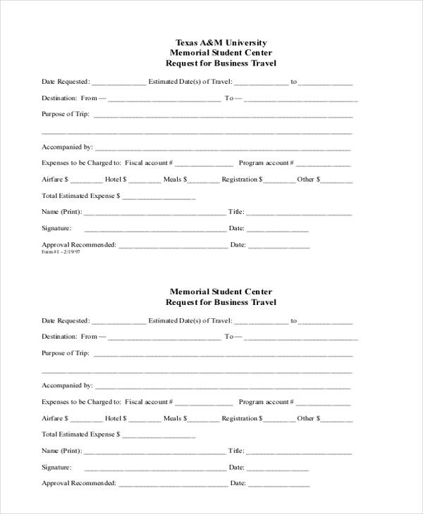 Business travel request form template aprilnamas 10 sample business request forms free sample example format accmission Image collections