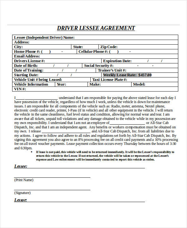 cab driver lease agreement form