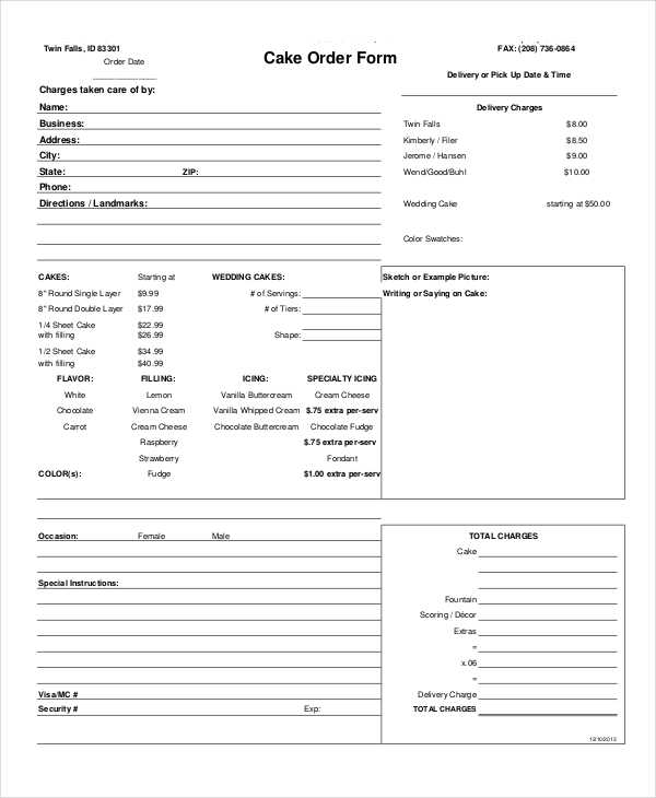 cake business order form1