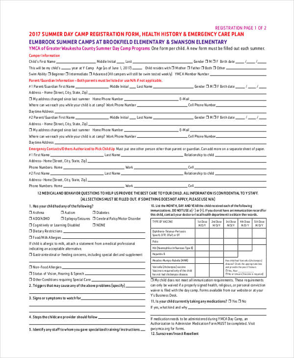 camp emergency contact registration form