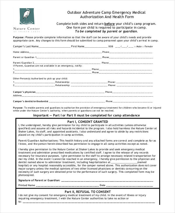 camp medical authorization form example