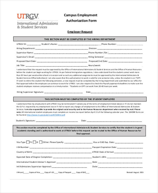Sample Employment Authorization Forms  Free Samples Examples