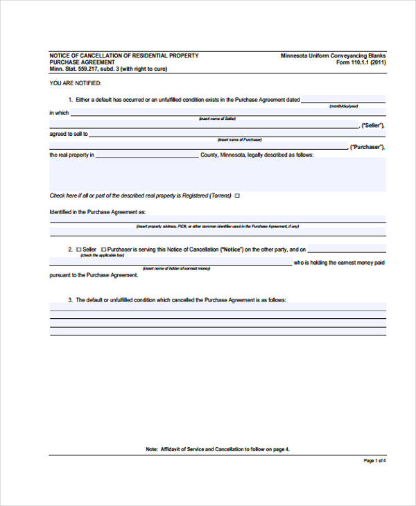 cancellation residential property purchase agreement form