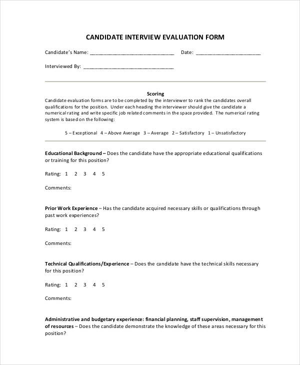candidate interview evaluation form example