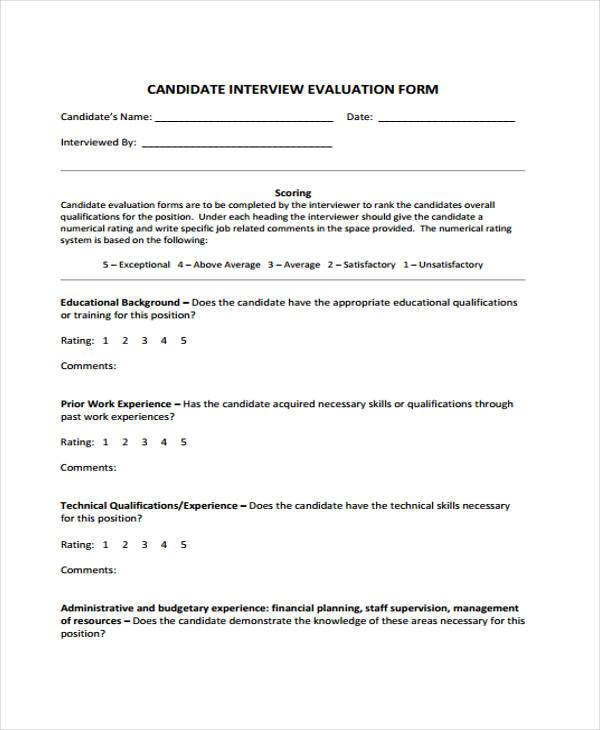 Evaluation Forms – On the Job Training Evaluation Form