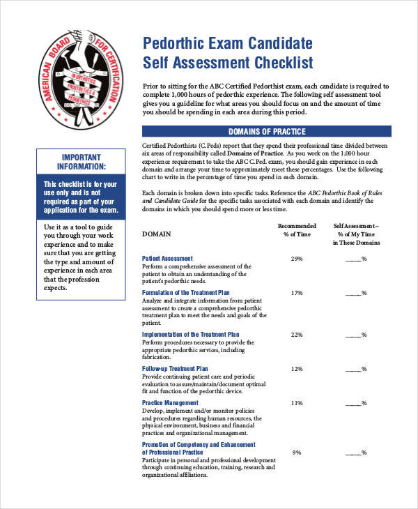 candidate self assessment checklist