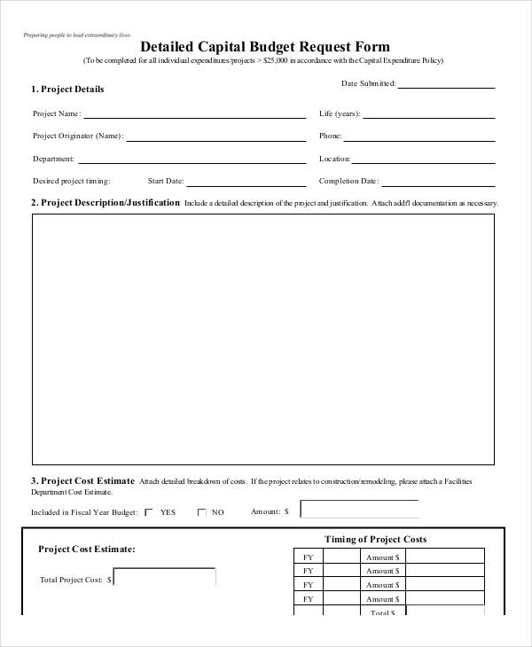 Sample Budget Request Form  Free Sample Example Format Download