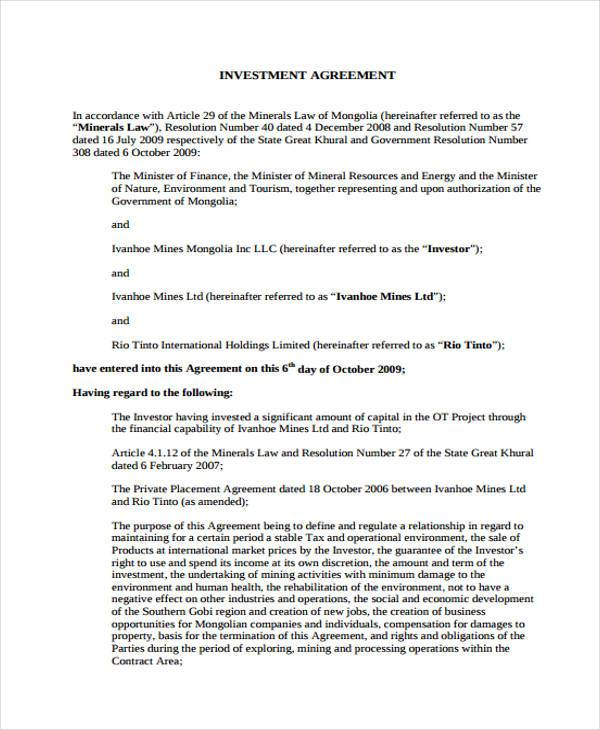 Investment Agreement Form Samples  Free Sample Example Format