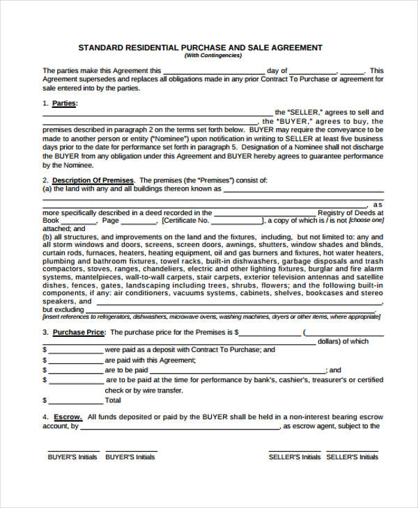 30 Sample Purchase Agreement Forms Word Pdf