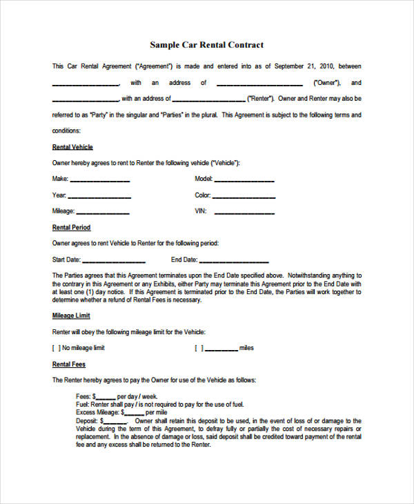 Sample Car Rental Contract In PDF