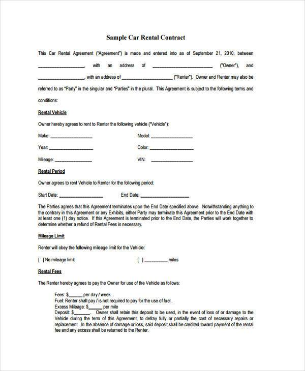 car rental contract form
