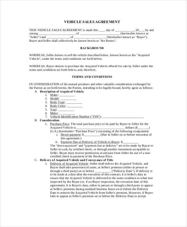 Car Sales Agreement Sample. Car Sale Loan Agreement2