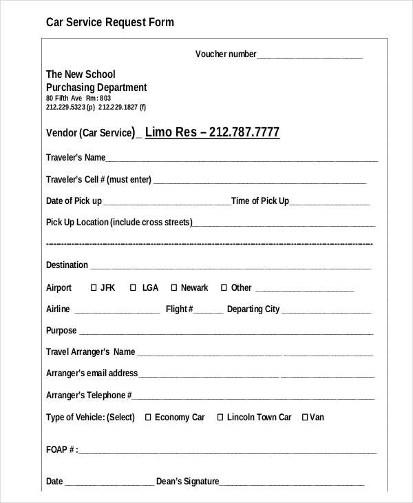 car service form template