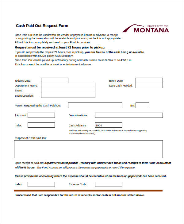 cash paid out request form